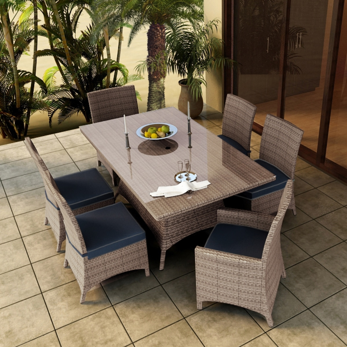 7 Piece Hampton Dining Outdoor Patio Furniture Set Patiohq
