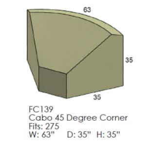 Cabo 45 Degree Corner Outdoor Patio Furniture Cover
